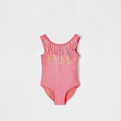Mini girls neon pink 'Mini diva' swimsuit