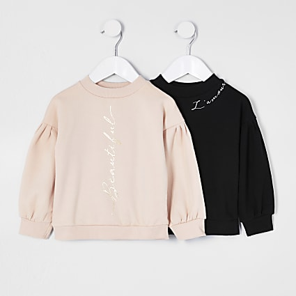 Mini girls nude 'Beautiful' sweatshirt 2 pack