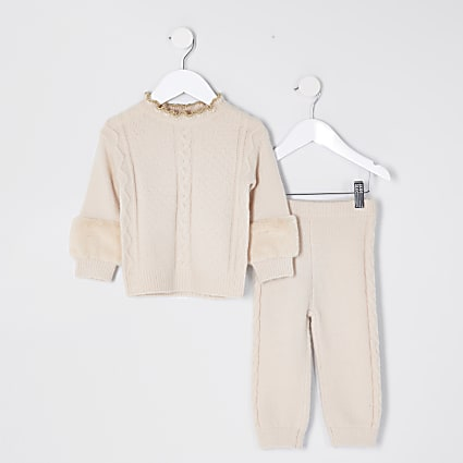 Mini girls nude faux fur trim knited outfit