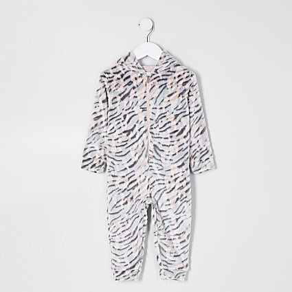 Mini girls nude tiger print fleece onesie