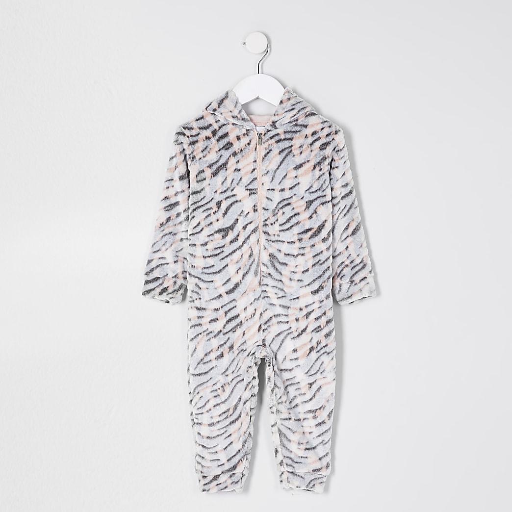 Mini girls nude tiger print fleece onesie