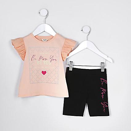 Mini girls orange 'Be more you' t-shirt set