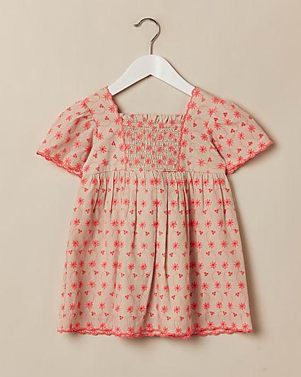 Mini girls orange broderie dress
