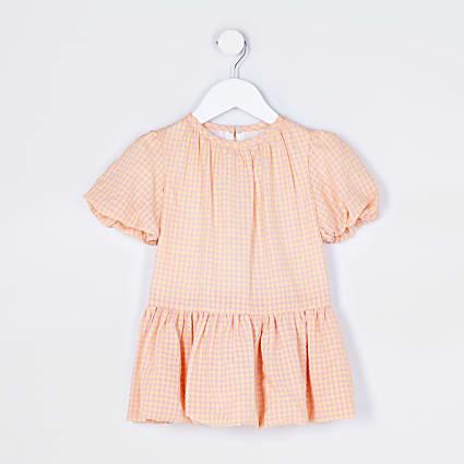 Mini girls orange check puff smock dress