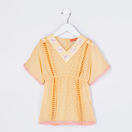 Mini girls orange embellished kaftan