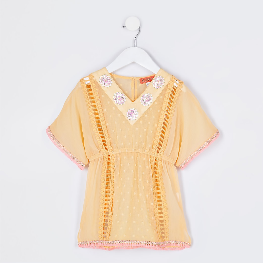 Mini girls orange embellished kaftan