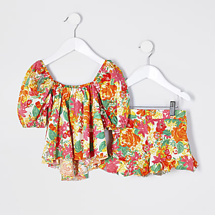 Mini girls orange floral bardot outfit
