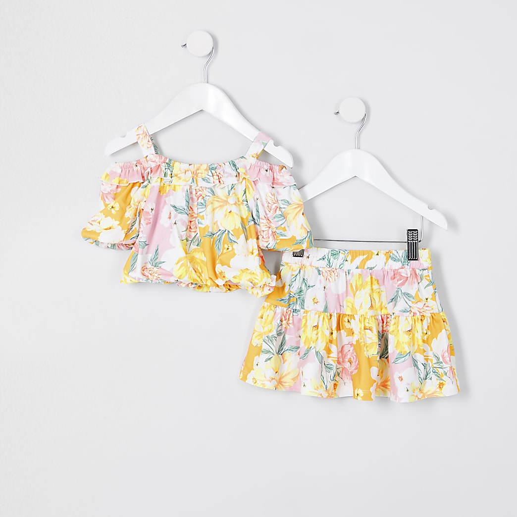 Mini girls orange floral frill skirt outfit