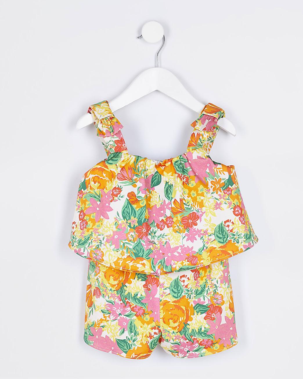 Mini girls orange floral playsuit