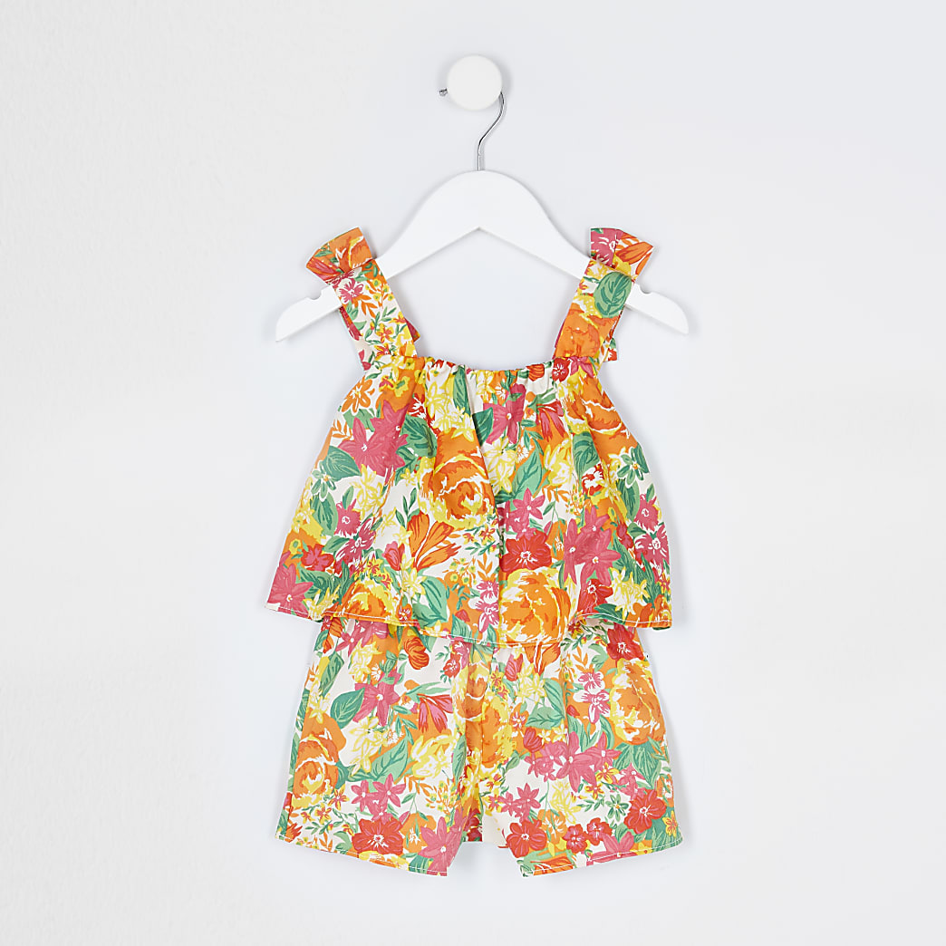 Mini girls orange floral print playsuit
