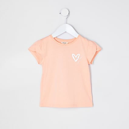 Mini girls orange heart print t-shirt