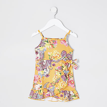 Mini girls orange paisley cami dress