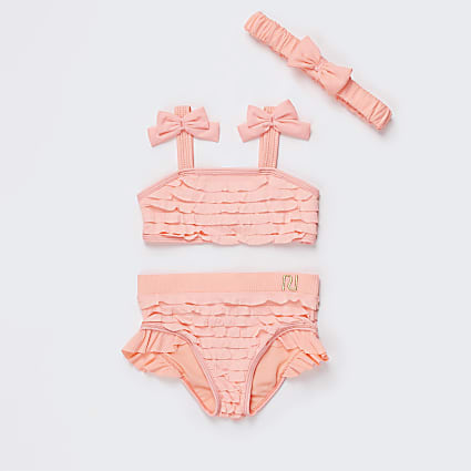 Mini girls orange ruffle bikini set