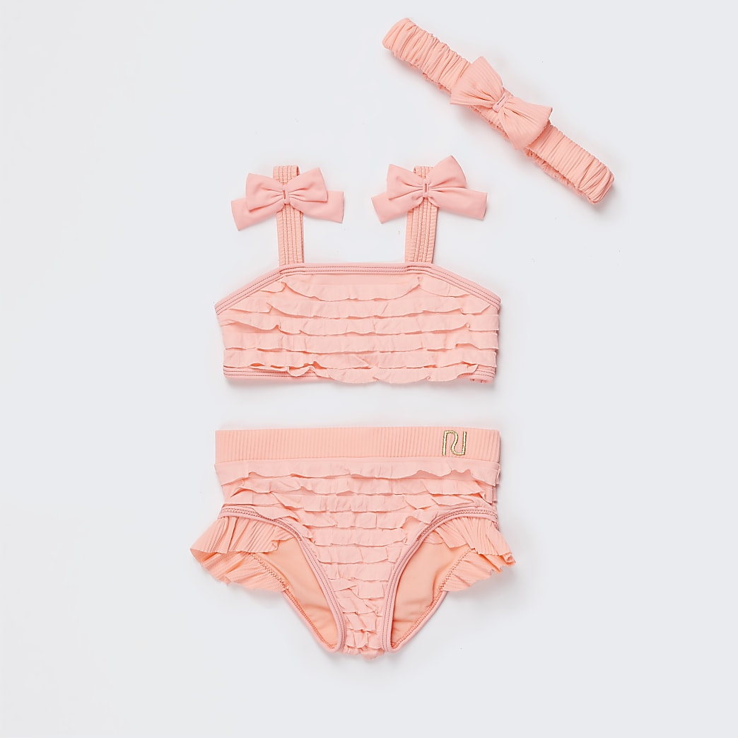 Mini girls orange ruffle bikini set