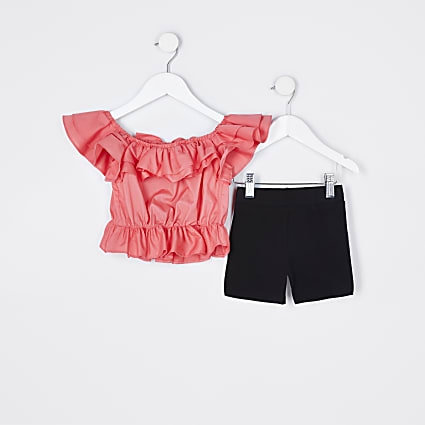 Mini girls orange ruffle top and shorts set