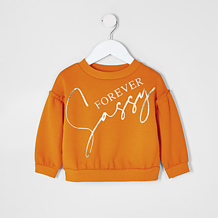 Mini girls orange 'Sassy' slogan sweatshirt