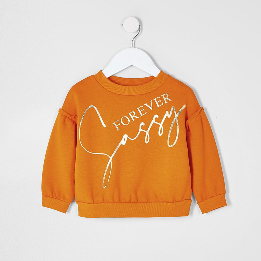 Mini girls orange 'Sassy' slogan sweatshirt