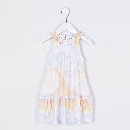 Mini girls orange tie dye ruffle dress