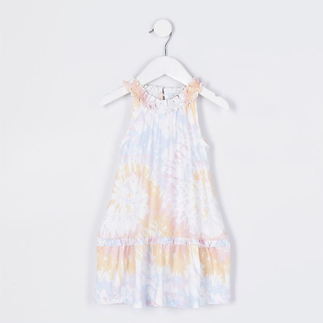 Mini girls orange tie dye ruffle dress