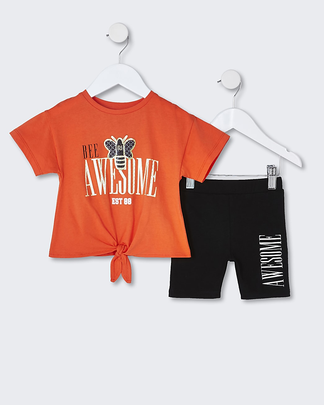 Mini girls orange tie front t-shirt outfit