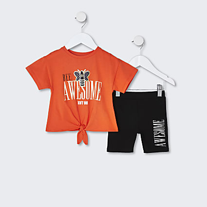 Mini girls orange tie front t-shirt outfit