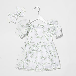 Mini girls organza floral milkmaid dress