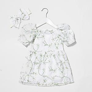 Mini - Organza melkmeisje jurk met bloemenprint voor meisjes