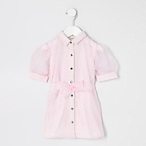 Mini – Blusenkleid mit Organza-Ärmeln in Hellrosa