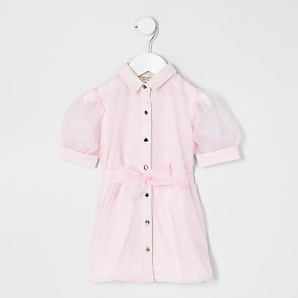 Mini Girls Pink - Light Organza Shirt Dress