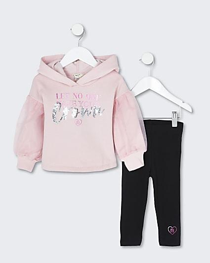 Mini girls pink 3D crown hoody legging outfit