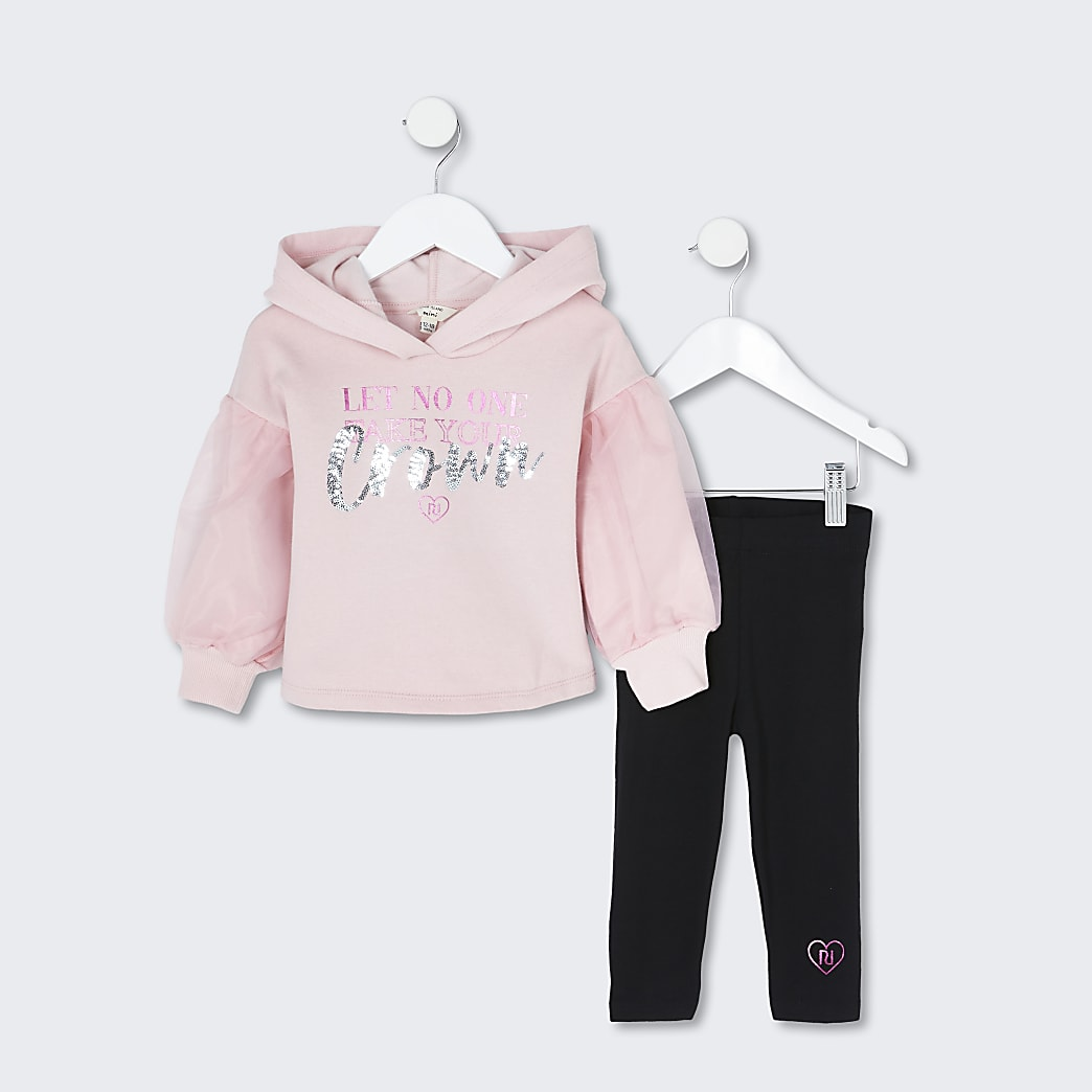 Mini girls pink 3D crown hoody legging outfit