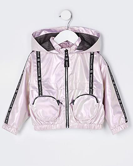 Mini girls pink 3D pocket bomber jacket