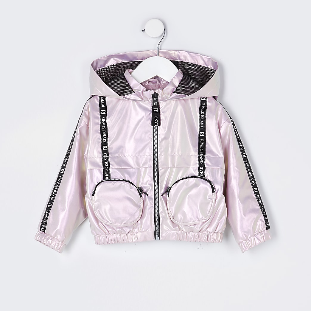 Mini girls pink 3D pocket bomber jacket