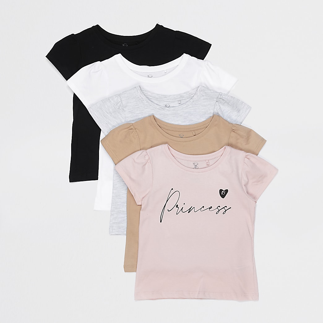 Mini girls pink 5 pack puff sleeve t-shirts