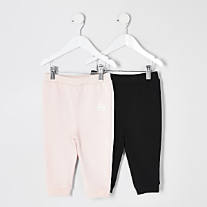 Mini girls pink and black joggers 2 pack