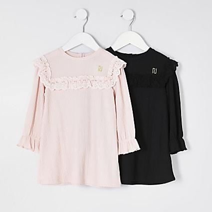 Mini girls pink and black smock dress 2 pack