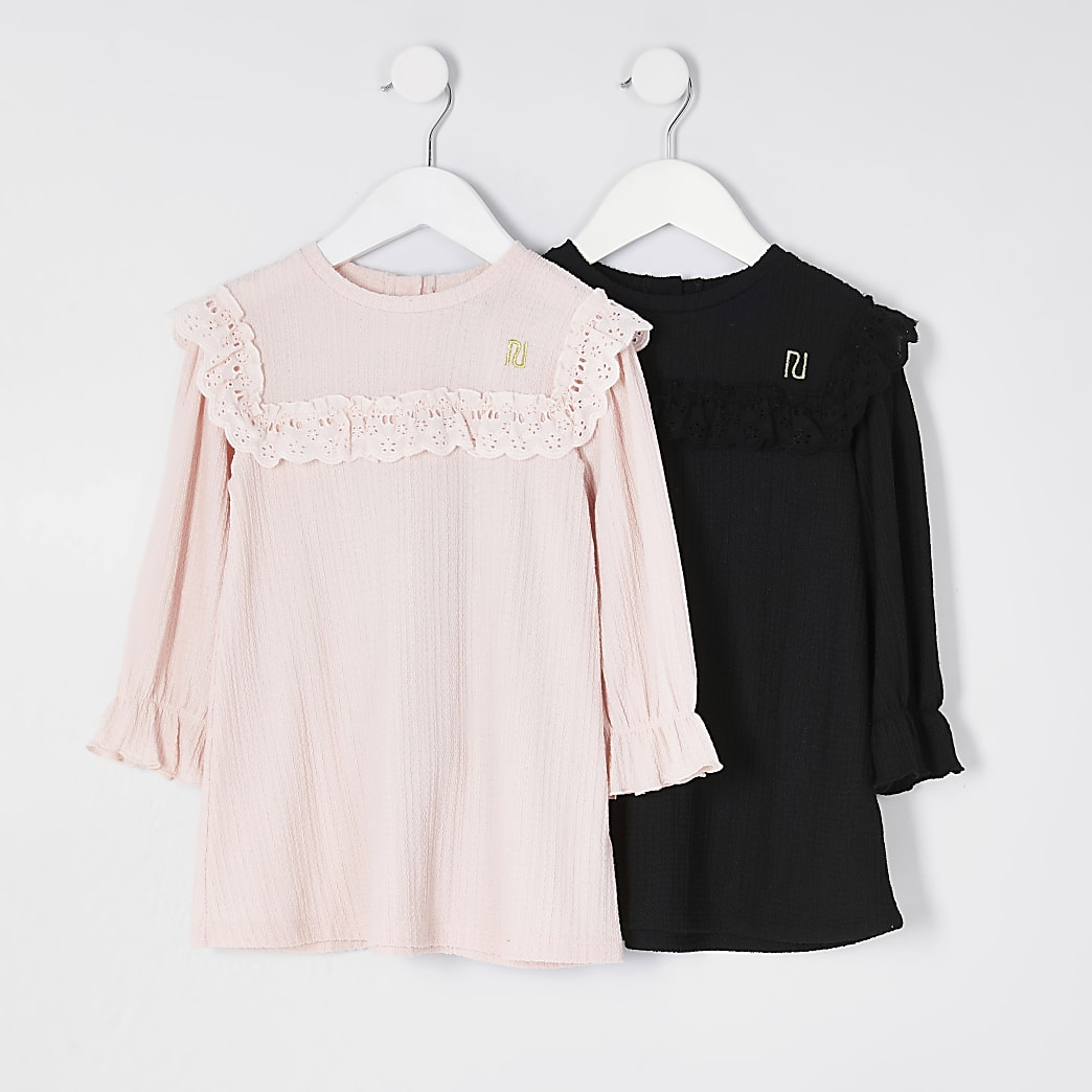 Mini girls pink and black smock dress 2 pack