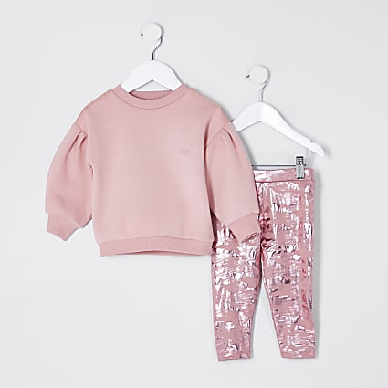 Mini girls pink angel print outfit