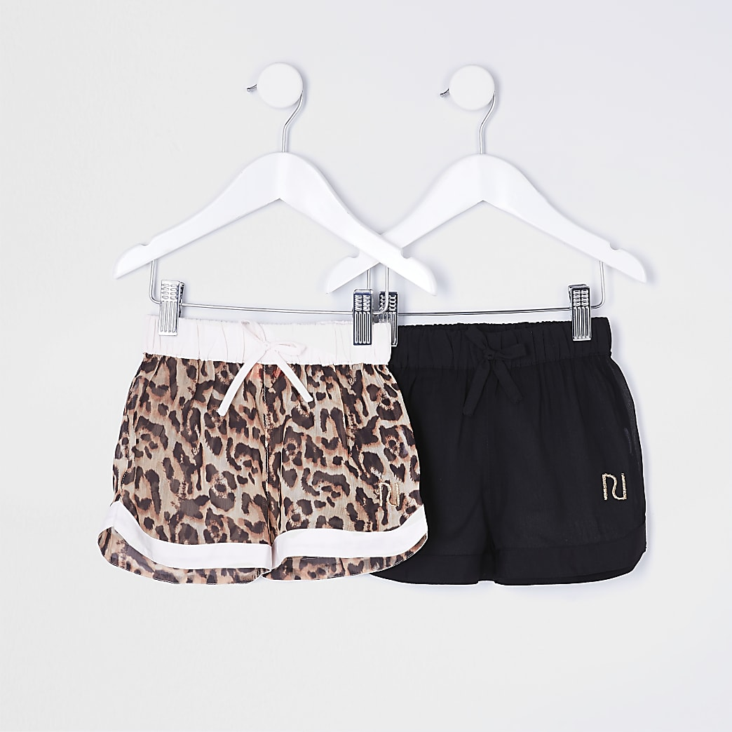 Mini girls pink animal print shorts 2 pack