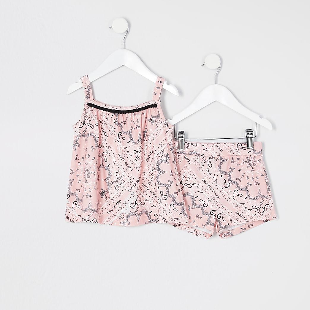 Mini - Roze short outfit met bandanaprint voor meisjes