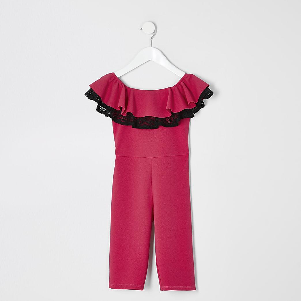 Mini girls pink bardot lace jumpsuit