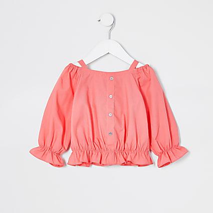 Mini girls pink bardot poplin top