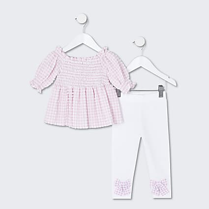 Mini girls pink bardot top and legging set