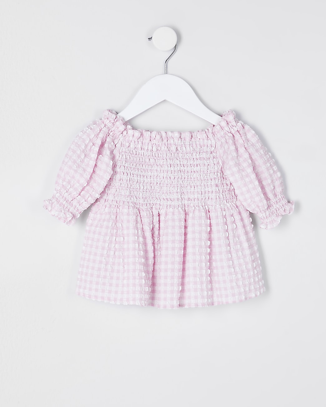 Mini girls pink bardot top