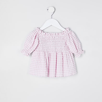 Mini girls pink bardot top