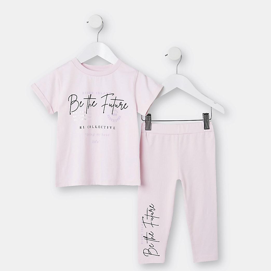 Mini girls pink 'Be The Future' leggings set