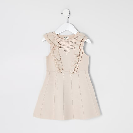 Mini girls pink beaded pointelle frill dress
