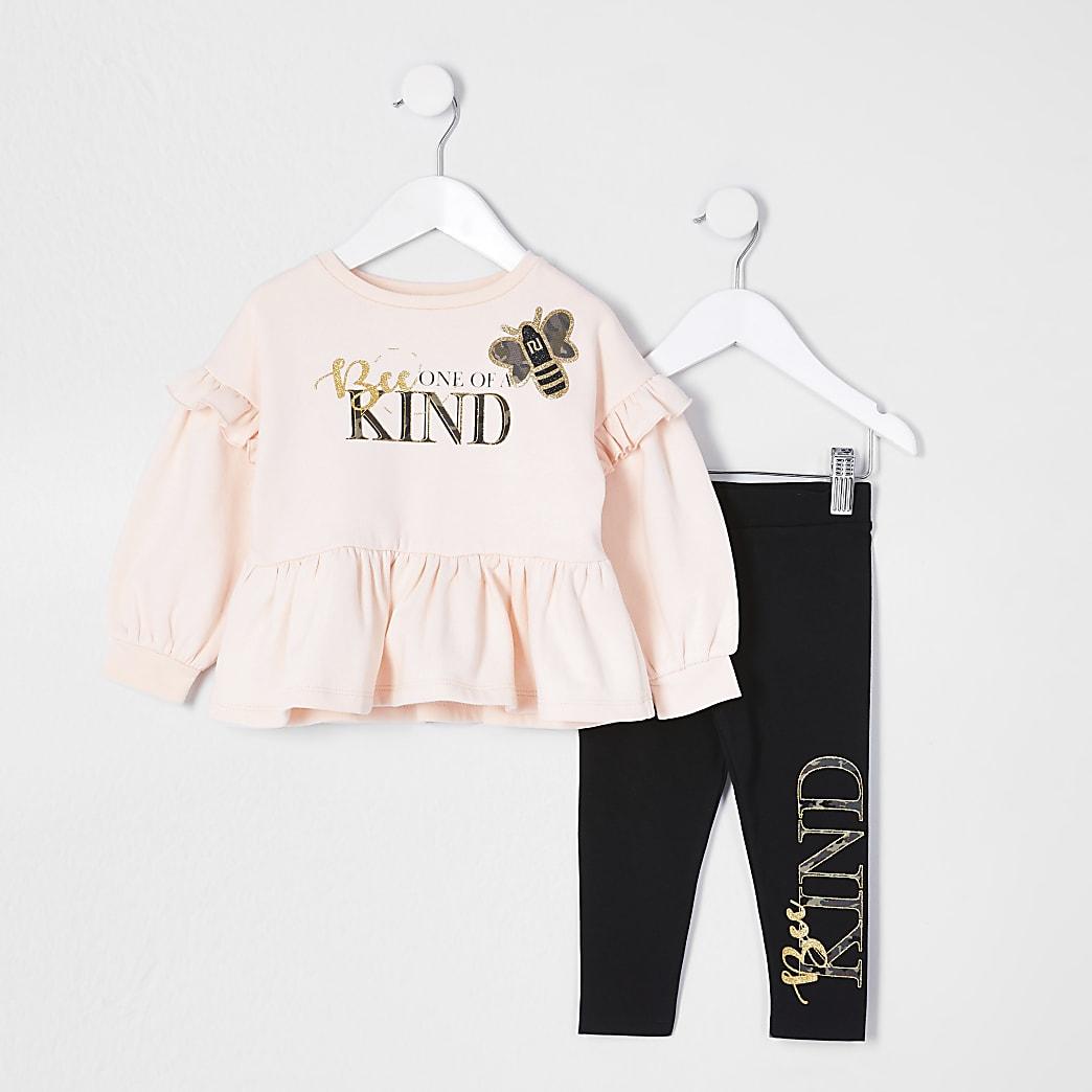 Mini girls pink bee frill top leggings set