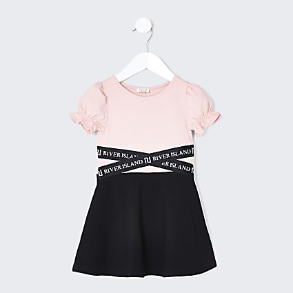 Mini girls pink black skater dress