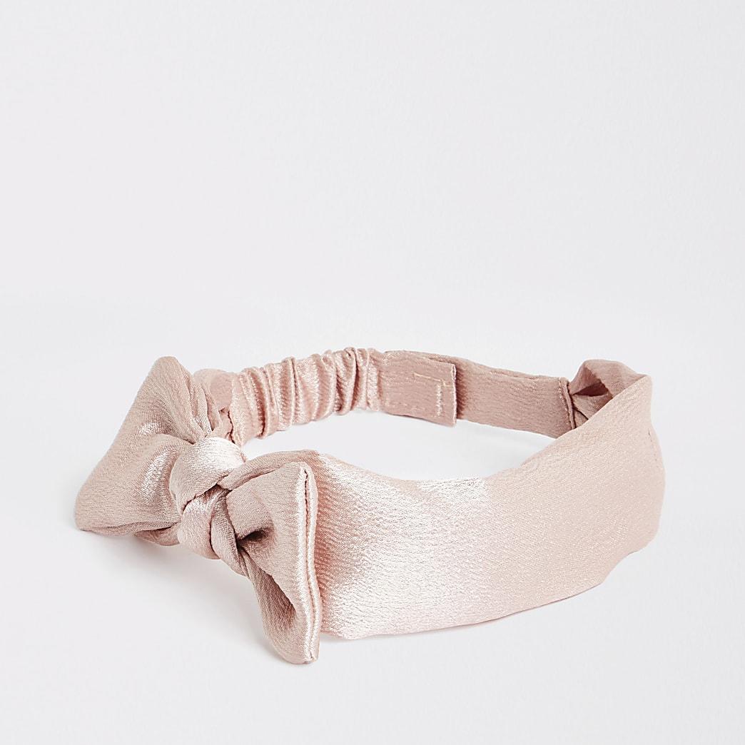 Mini girls pink blush bow headband